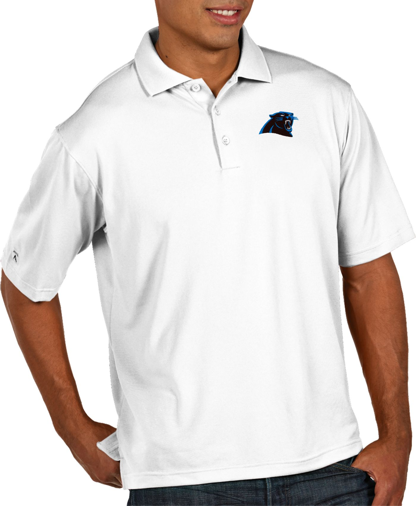 Antigua Men's Carolina Panthers Pique Xtra-Lite Performance White Polo