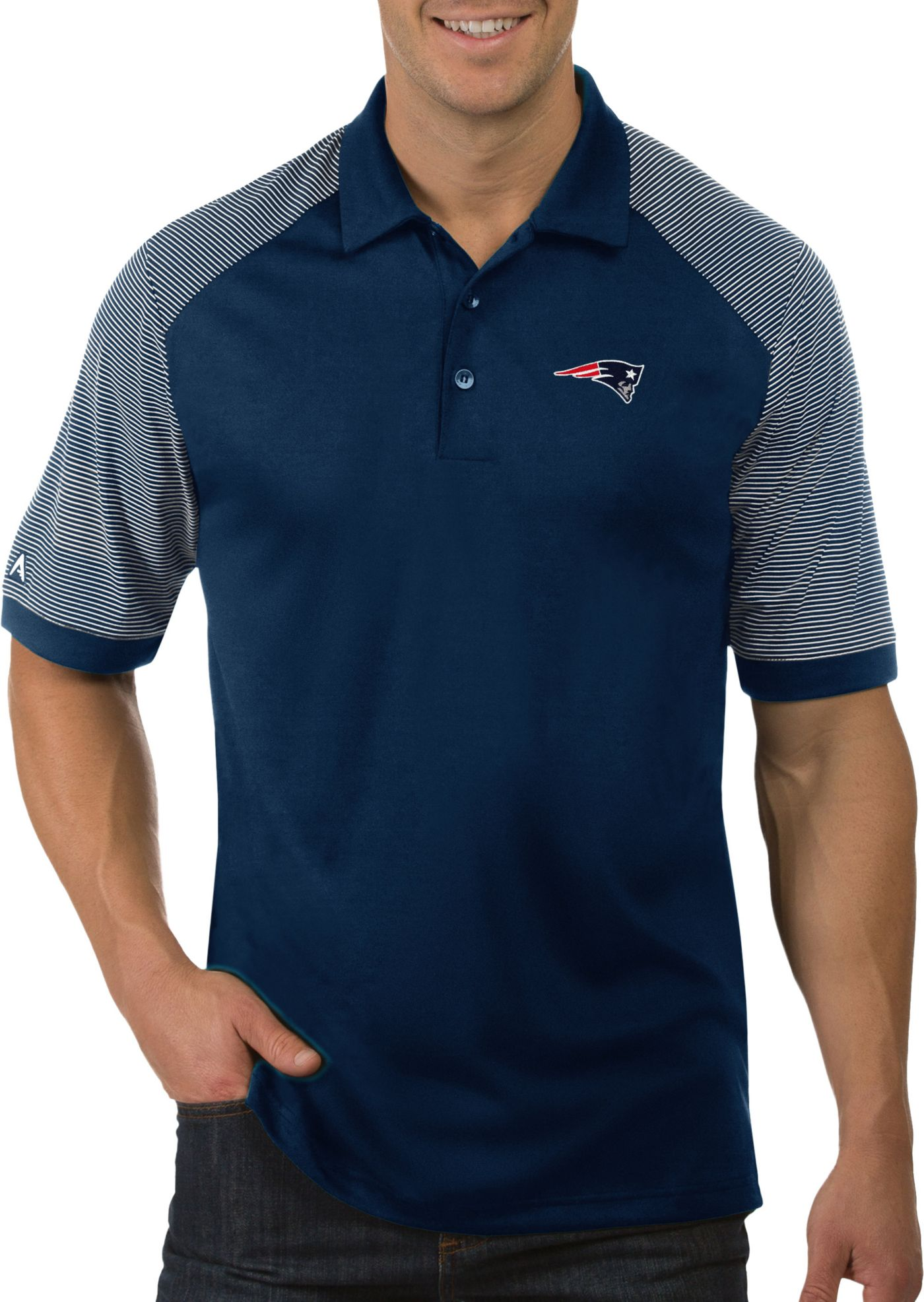 Antigua Men's New England Patriots Engage Navy Performance Polo