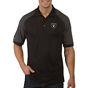 Antigua Men's Oakland Raiders Engage Black Performance Polo