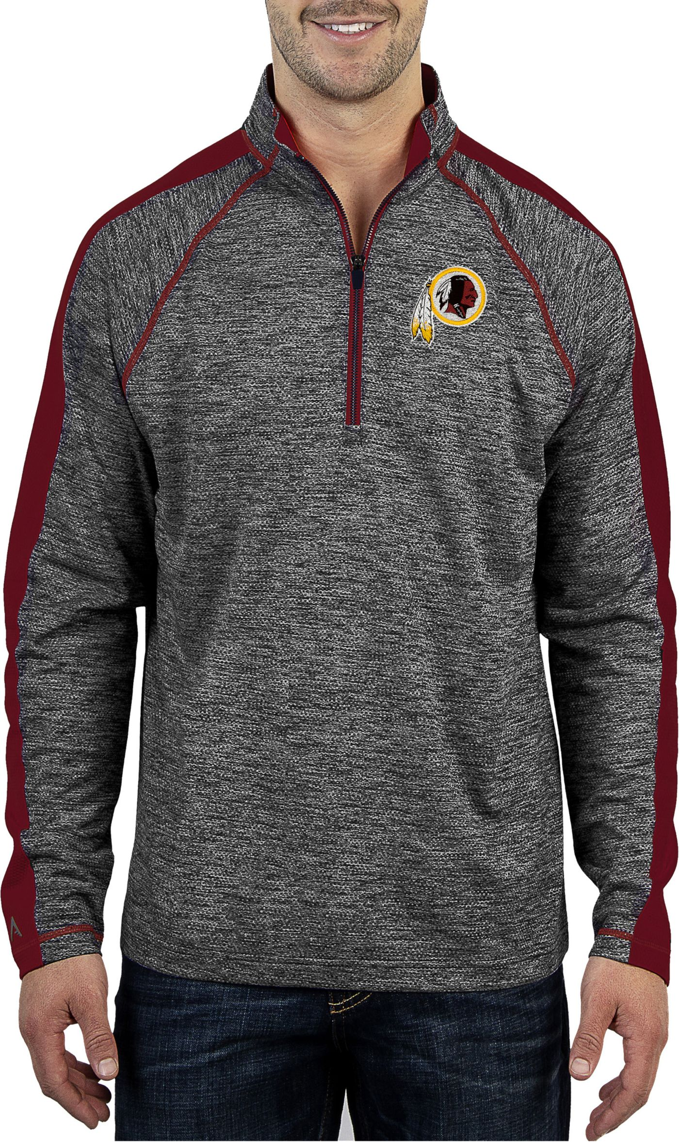 Antigua Men's Washington Redskins Advantage Black Quarter-Zip Pullover