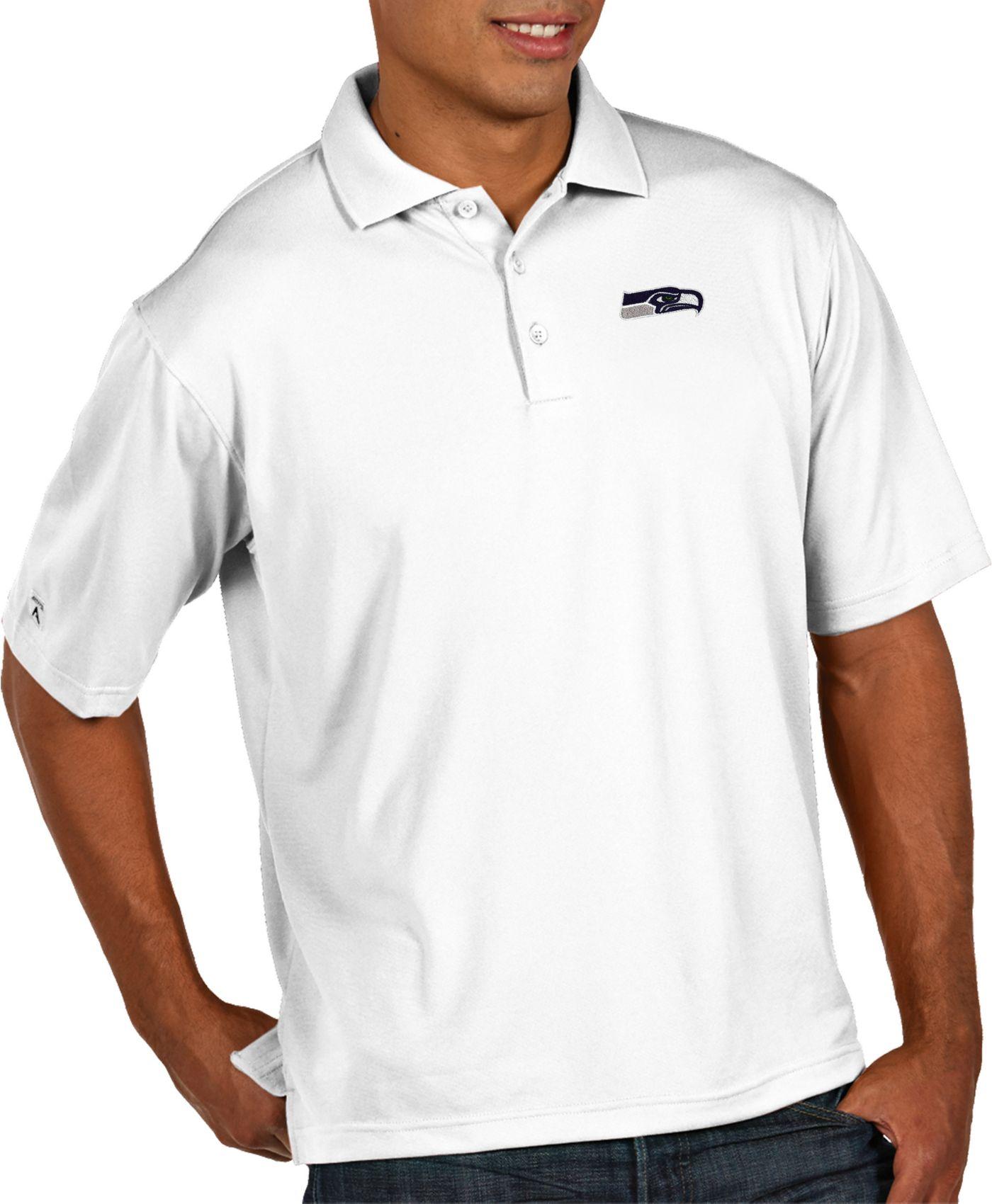 Antigua Men's Seattle Seahawks Pique Xtra-Lite Performance White Polo