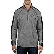 Antigua Men's New Orleans Saints Advantage Charcoal Quarter-Zip Pullover