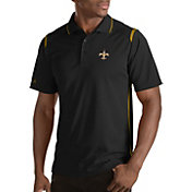 Antigua Men's New Orleans Saints Merit Black Xtra-Lite Polo
