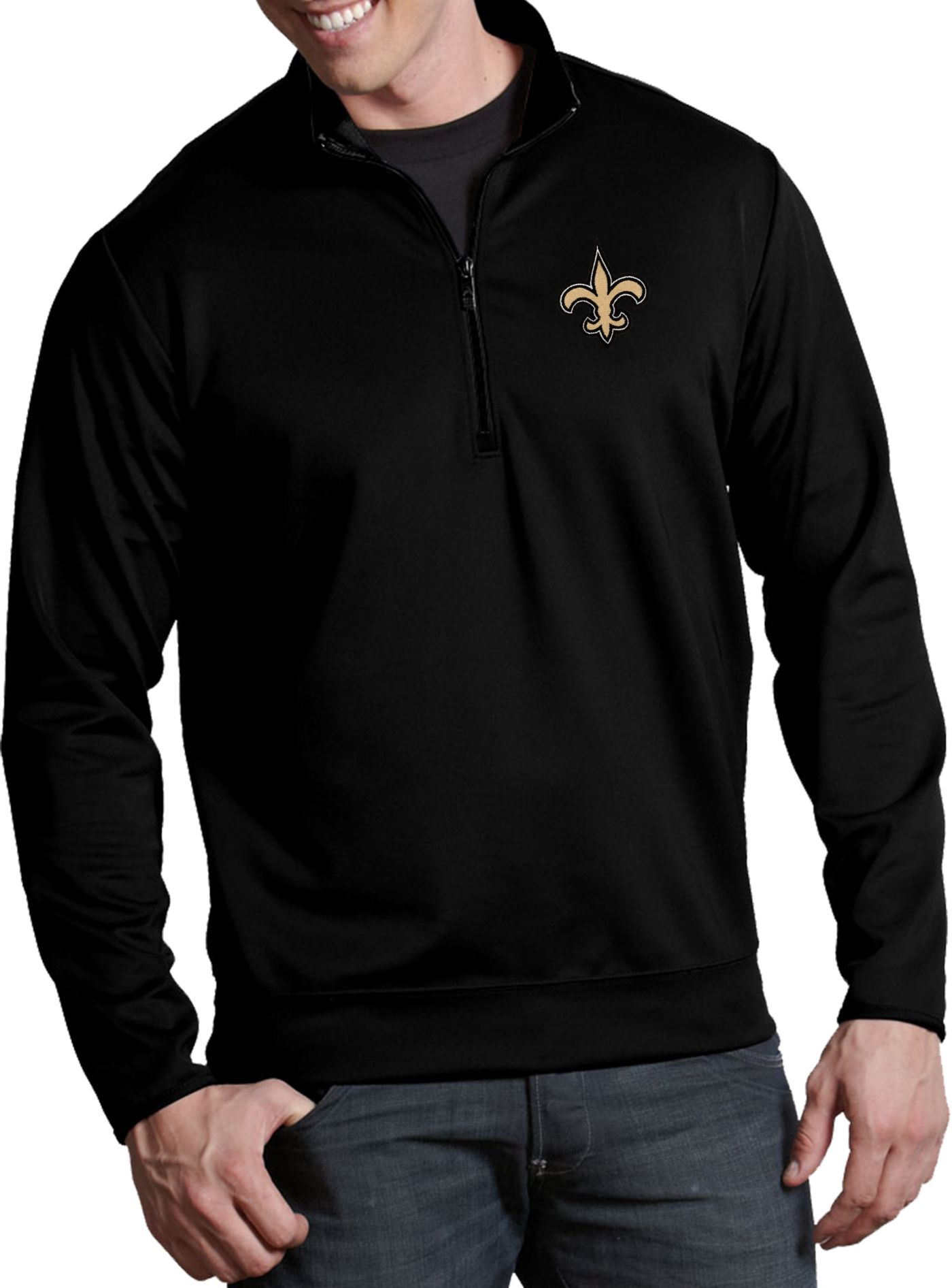 Antigua Men's New Orleans Saints Leader Quarter-Zip Black Pullover Top