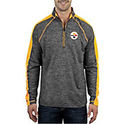 Antigua Men's Pittsburgh Steelers Advantage Black Quarter-Zip Pullover