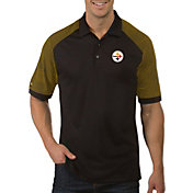 Antigua Men's Pittsburgh Steelers Engage Black Performance Polo