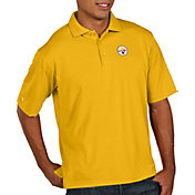 Antigua Men's Pittsburgh Steelers Pique Xtra-Lite Performance Gold Polo