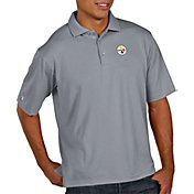 Antigua Men's Pittsburgh Steelers Pique Xtra-Lite Performance Grey Polo