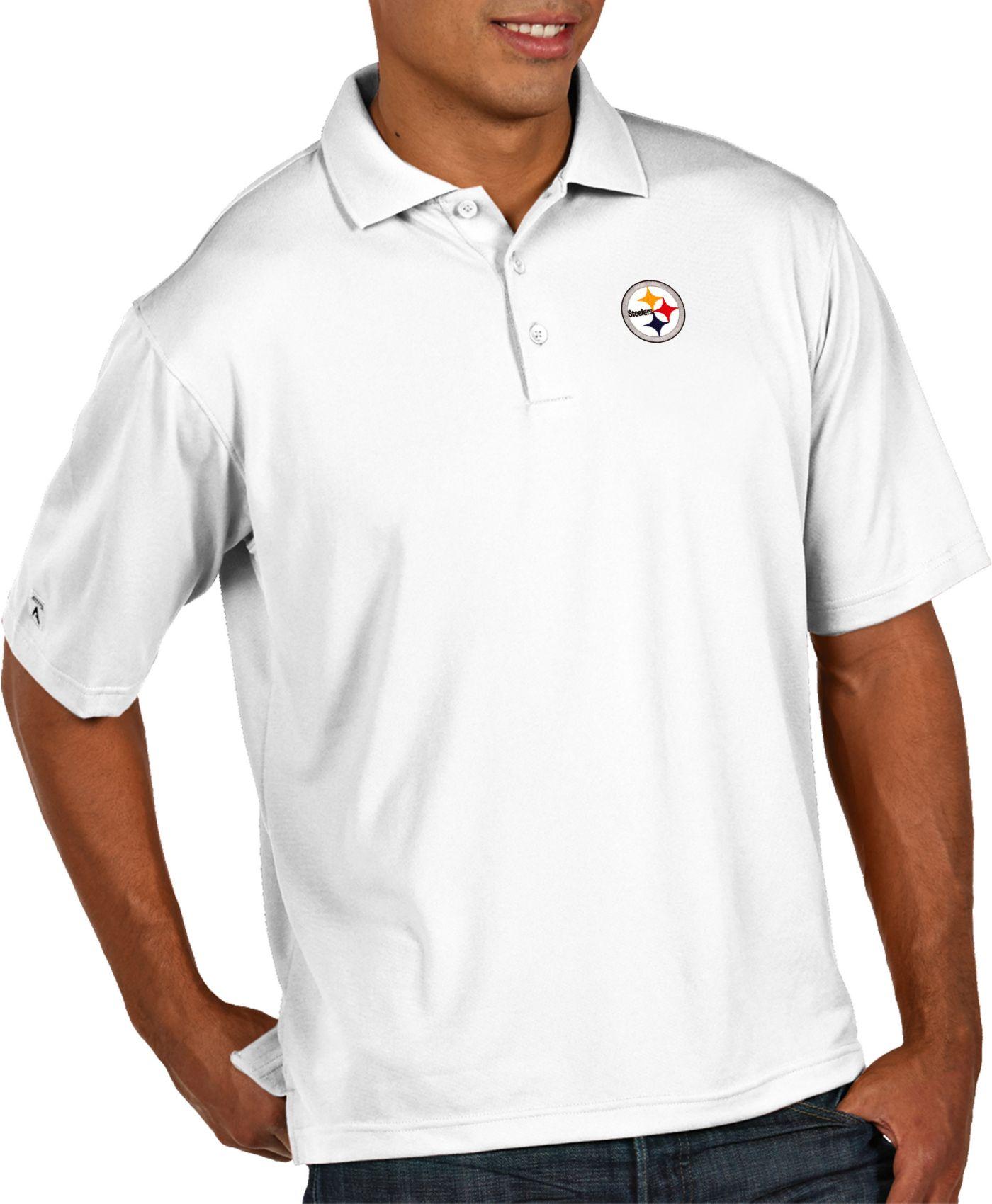 Antigua Men's Pittsburgh Steelers Pique Xtra-Lite Performance White Polo