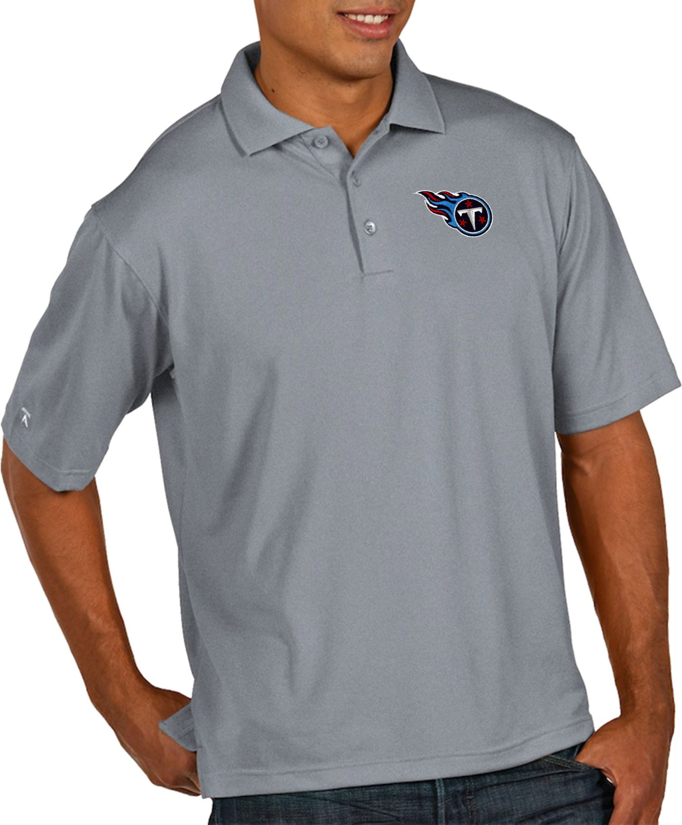 Antigua Men's Tennessee Titans Pique Xtra-Lite Performance Grey Polo