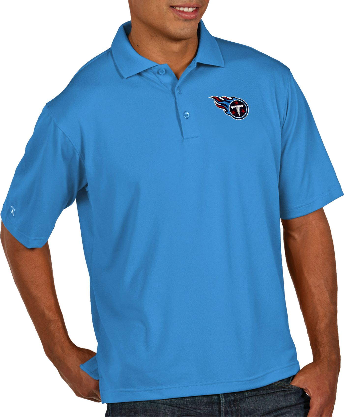 Antigua Men's Tennessee Titans Pique Xtra-Lite Performance Blue Polo