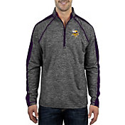 Antigua Men's Minnesota Vikings Advantage Black Quarter-Zip Pullover