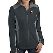 Antigua Women's Milwaukee Brewers Revolve Grey Full-Zip Jacket