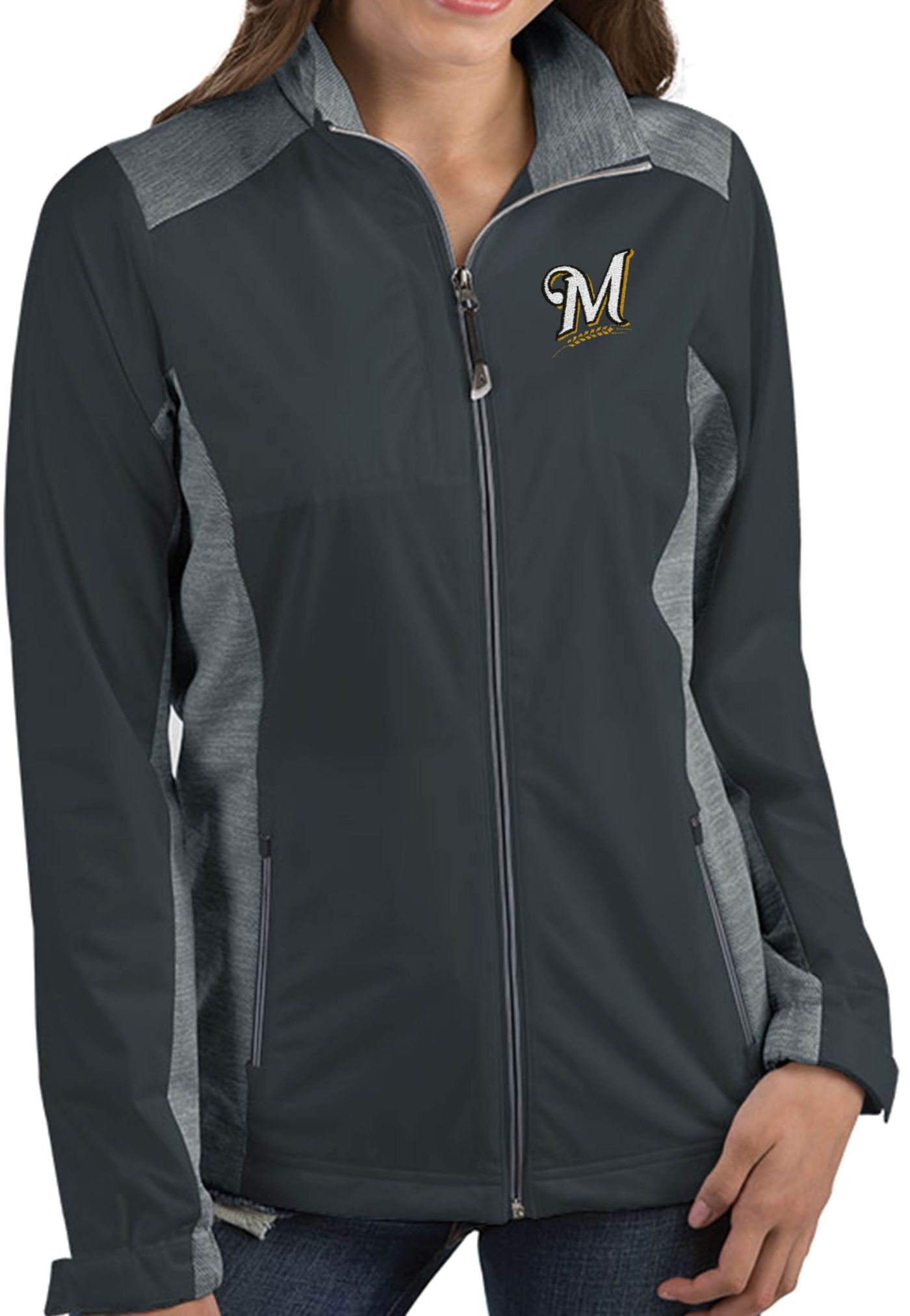 Antigua Women's Milwaukee Brewers Revolve Grey Full-Zip Jacket