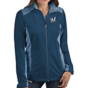 Antigua Women's Milwaukee Brewers Revolve Navy Full-Zip Jacket