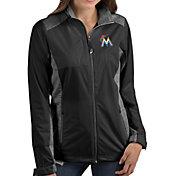 Antigua Women's Miami Marlins Revolve Black Full-Zip Jacket