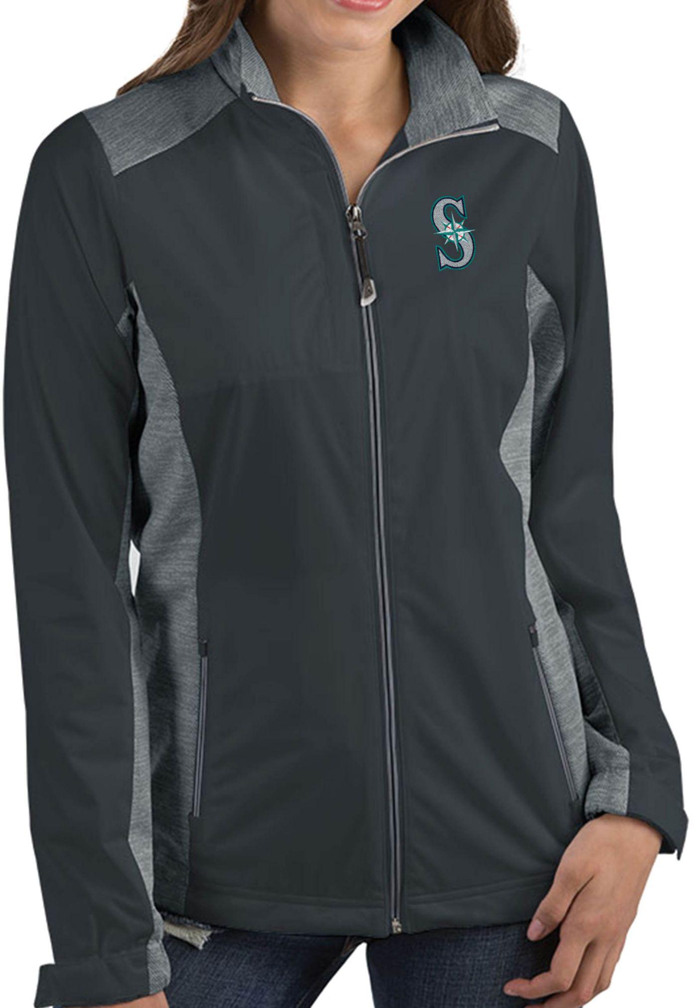 Antigua Women's Seattle Mariners Revolve Grey Full-Zip Jacket