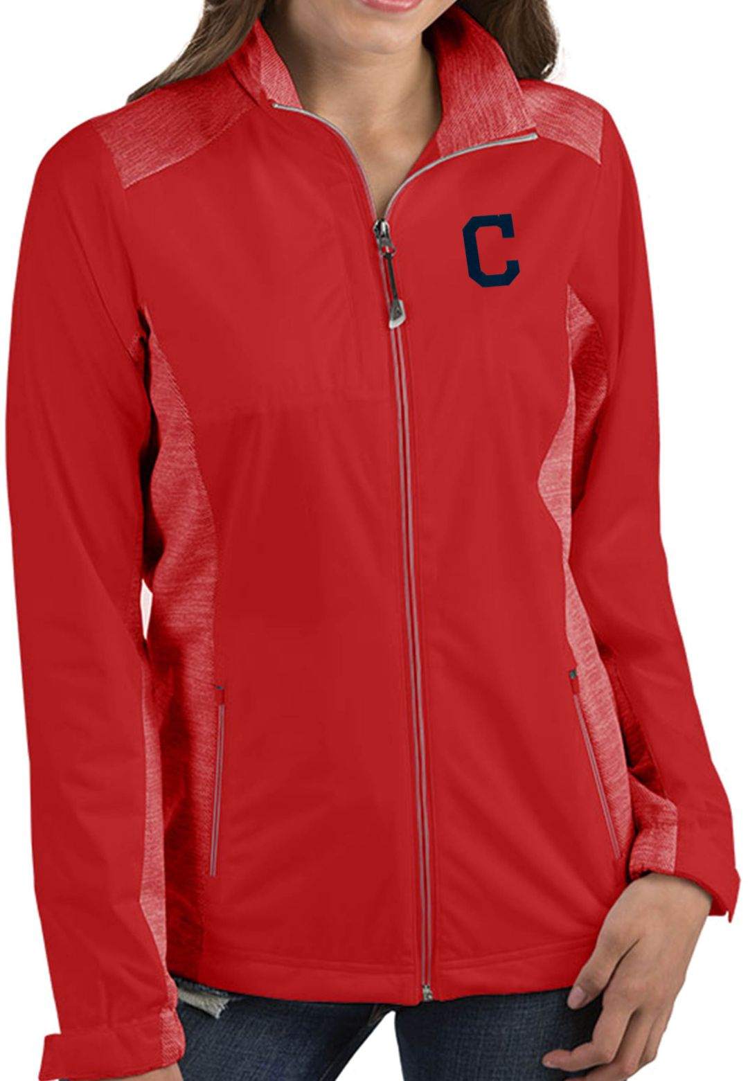 check out 6bf0c 3b82c Antigua Women's Cleveland Indians Revolve Red Full-Zip Jacket