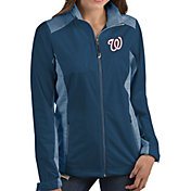 Antigua Women's Washington Nationals Revolve Navy Full-Zip Jacket