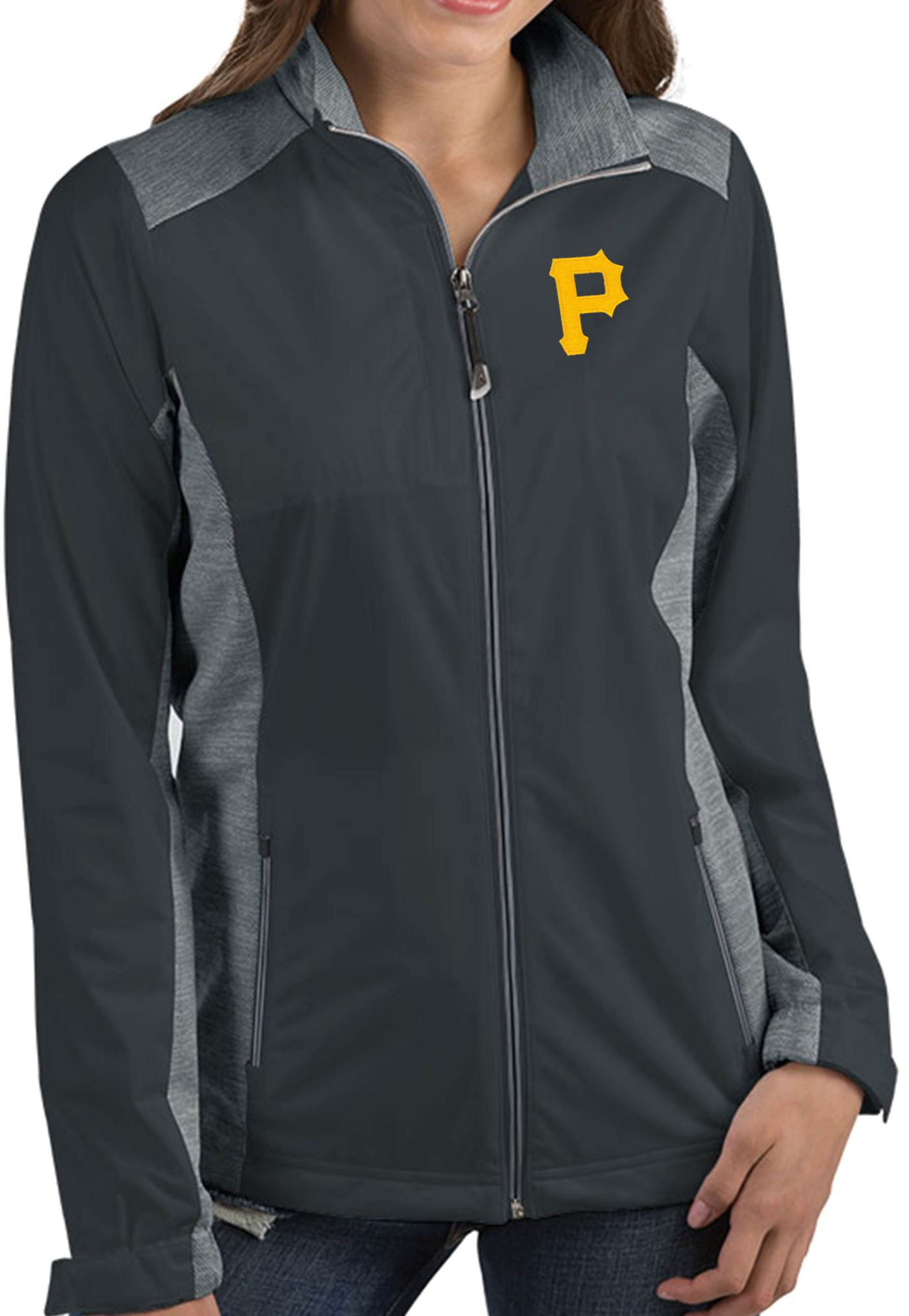 Antigua Women's Pittsburgh Pirates Revolve Grey Full-Zip Jacket