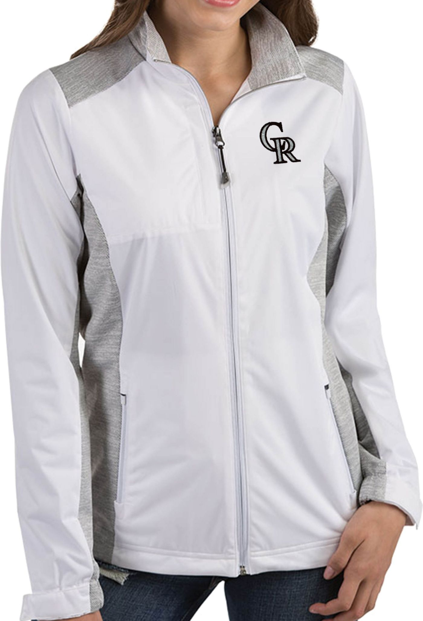 Antigua Women's Colorado Rockies Revolve White Full-Zip Jacket