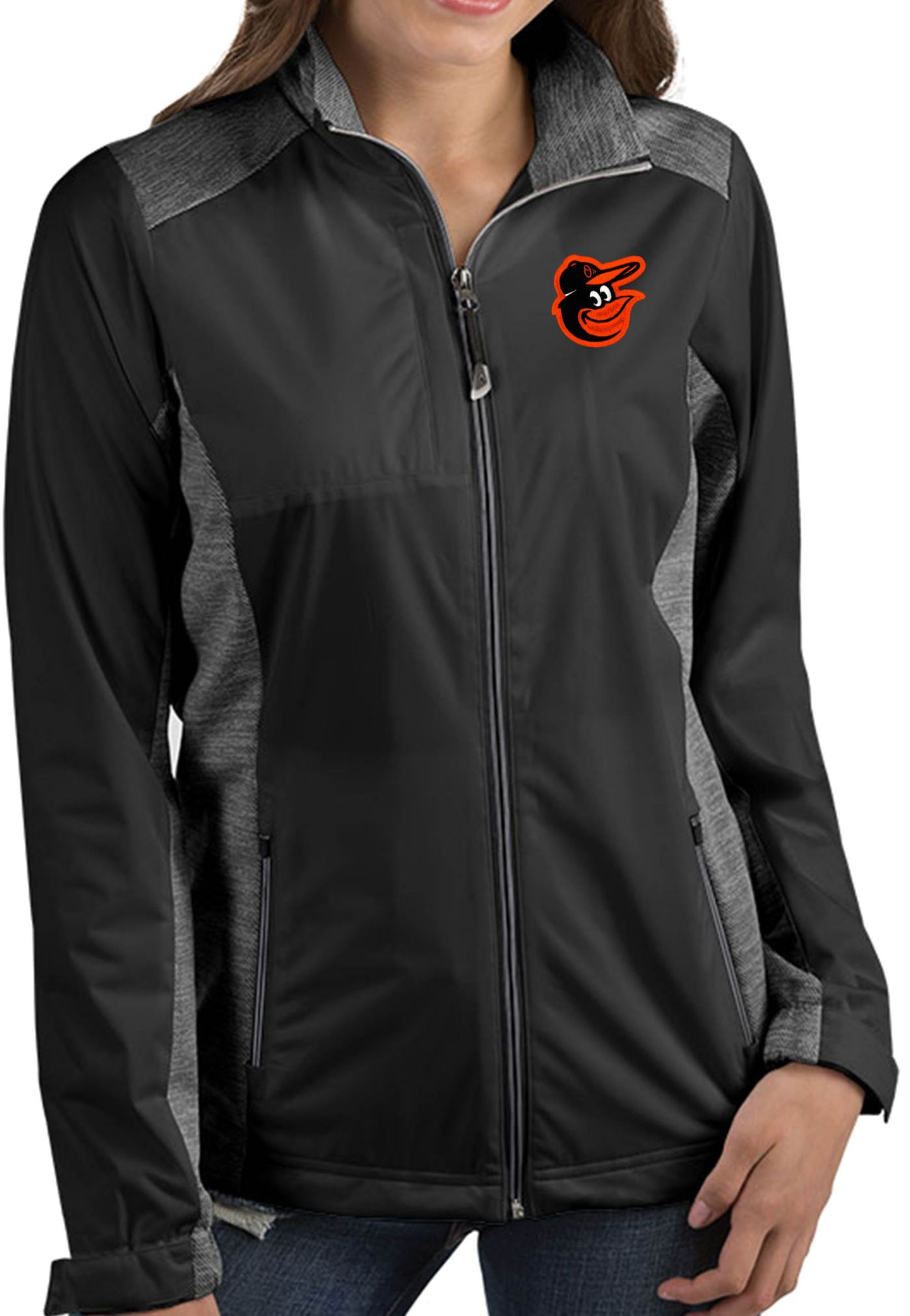 Antigua Women's Baltimore Orioles Revolve Black Full-Zip Jacket