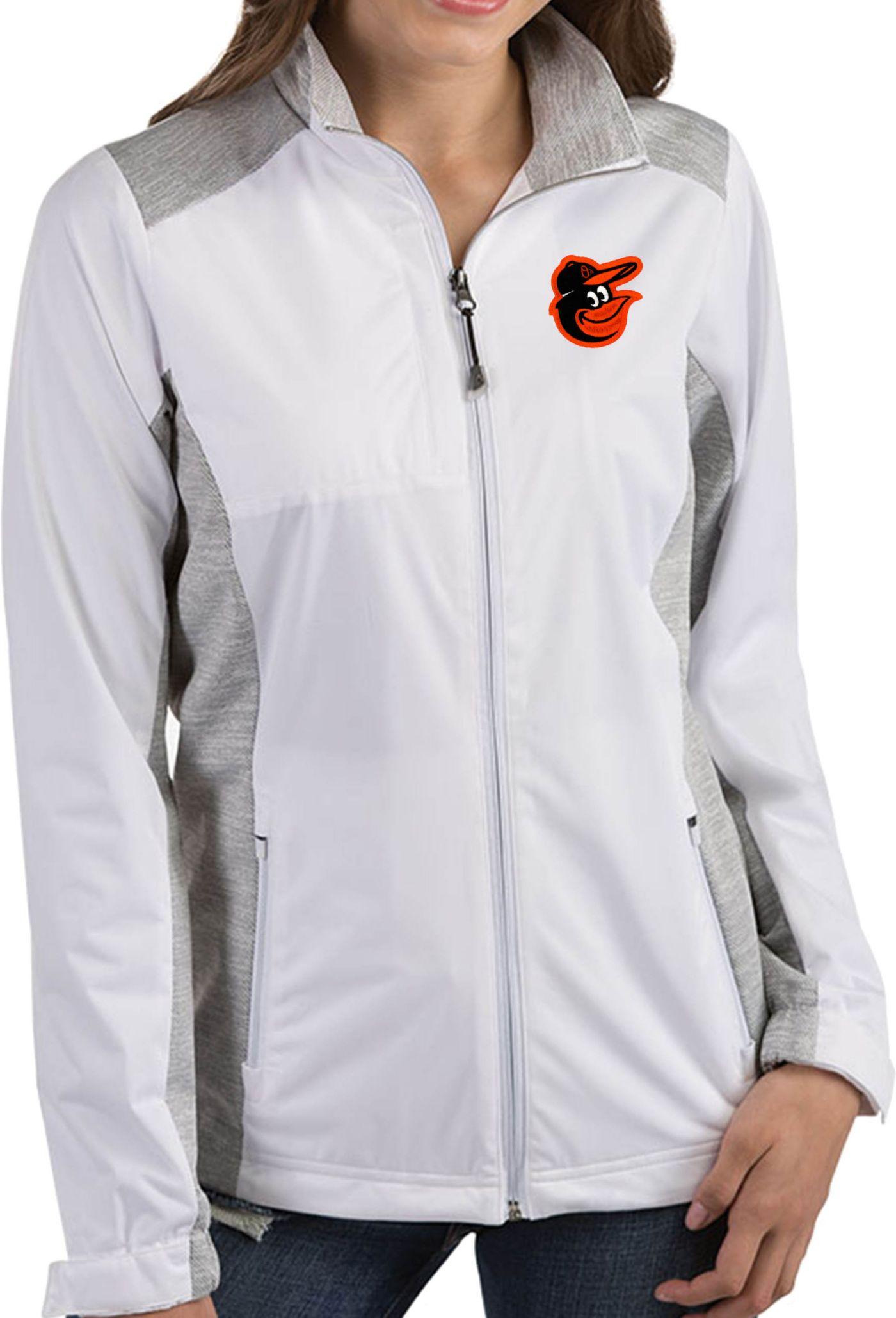 Antigua Women's Baltimore Orioles Revolve White Full-Zip Jacket