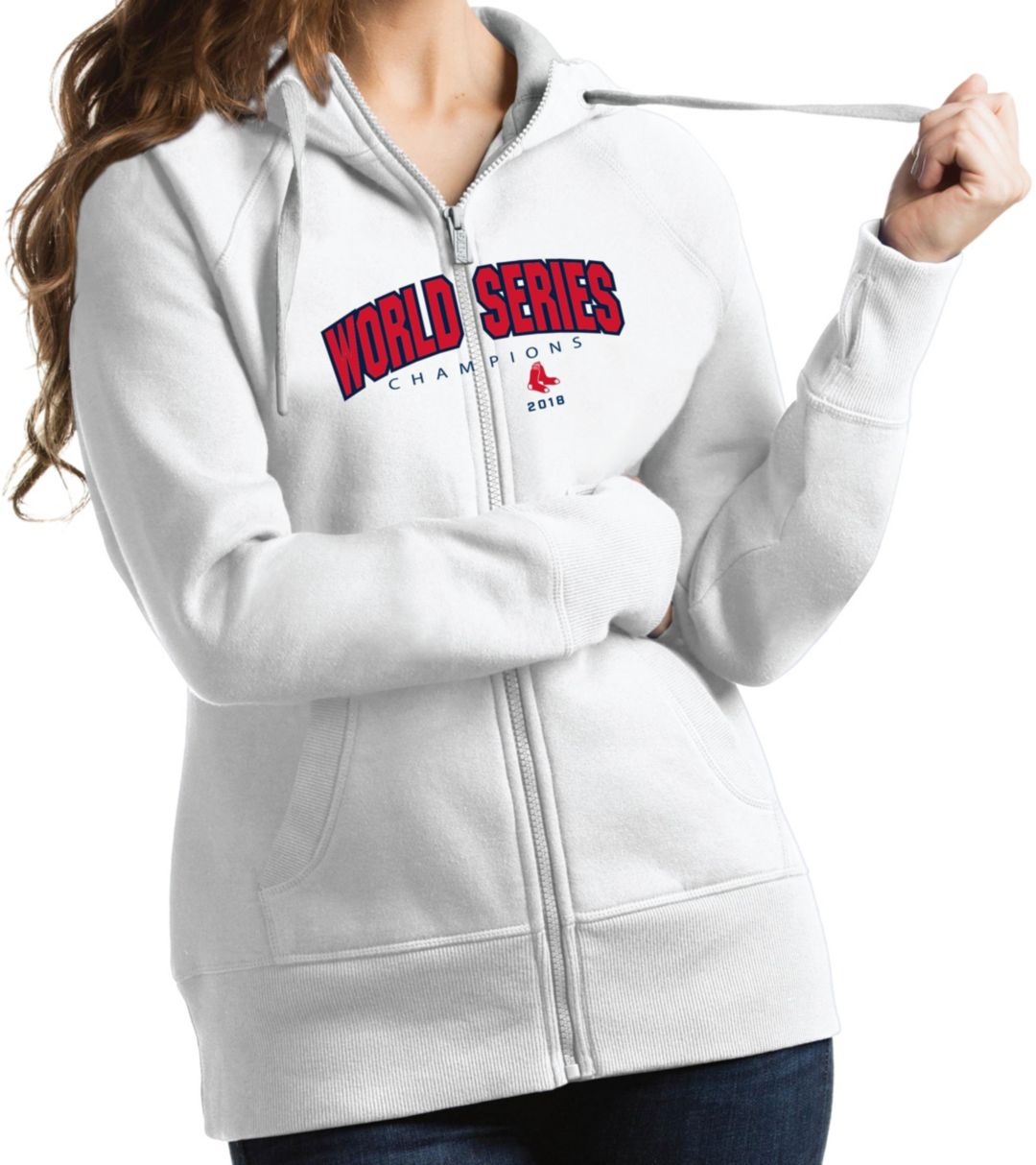 pretty nice 0a230 51683 Antigua Women's 2018 World Series Champions Boston Red Sox White Victory  Full-Zip Hoodie