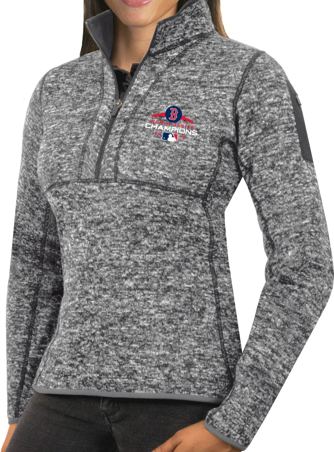 buy online d35f0 89555 Antigua Women's 2018 World Series Champions Boston Red Sox Grey Fortune  Half-Zip Pullover