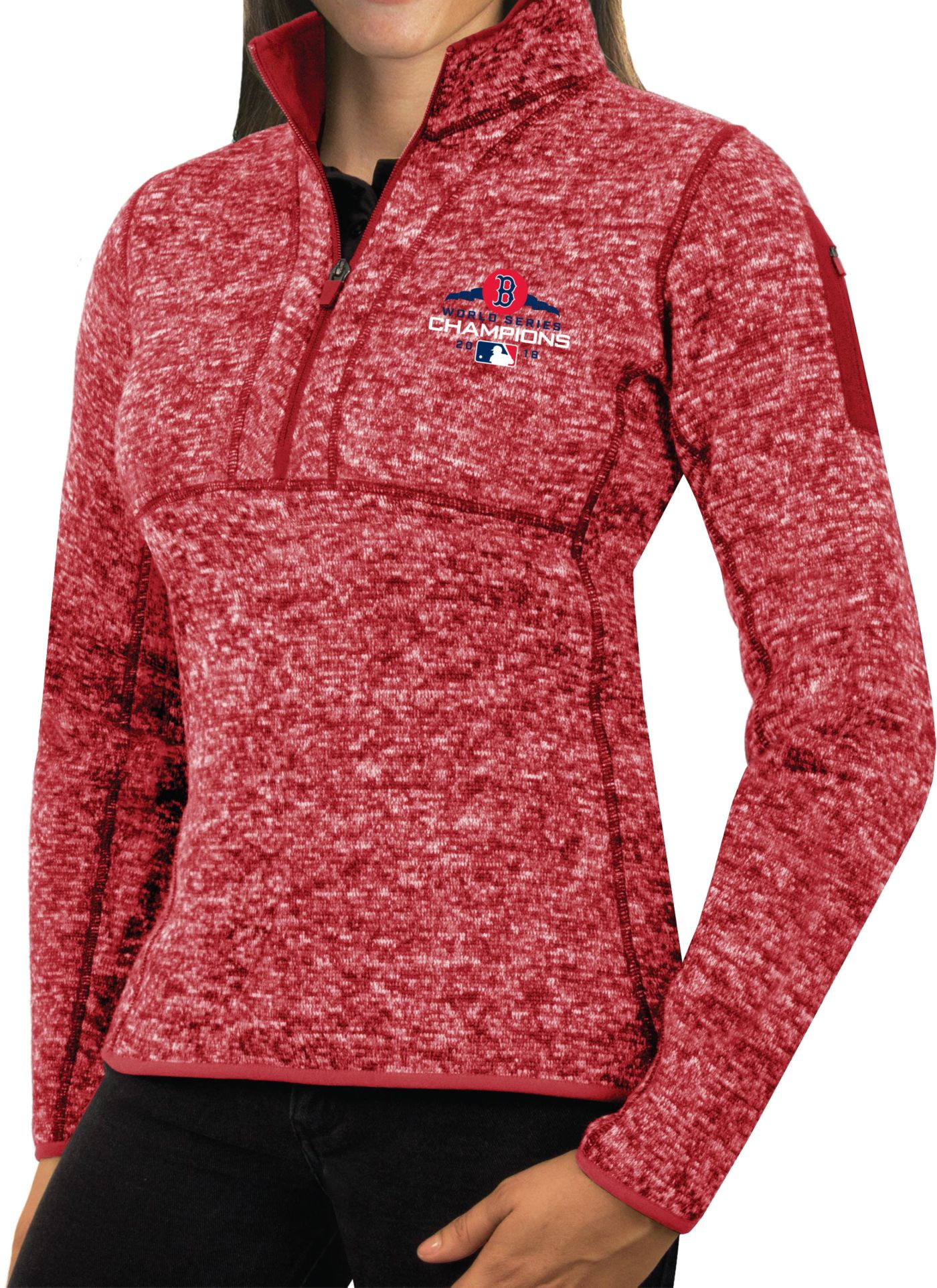 Antigua Women's 2018 World Series Champions Boston Red Sox Red Fortune Half-Zip Pullover