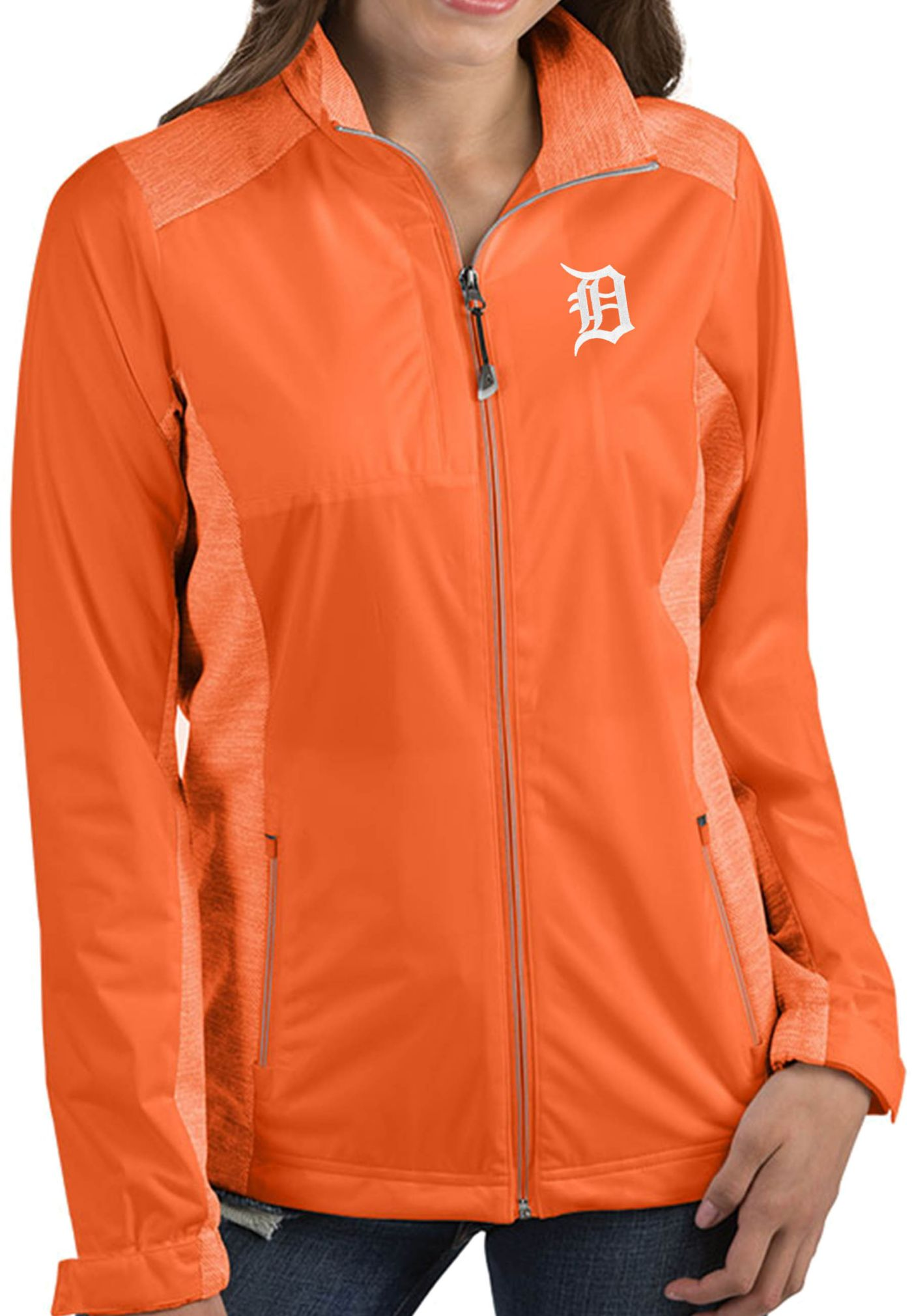 Antigua Women's Detroit Tigers Revolve Orange Full-Zip Jacket