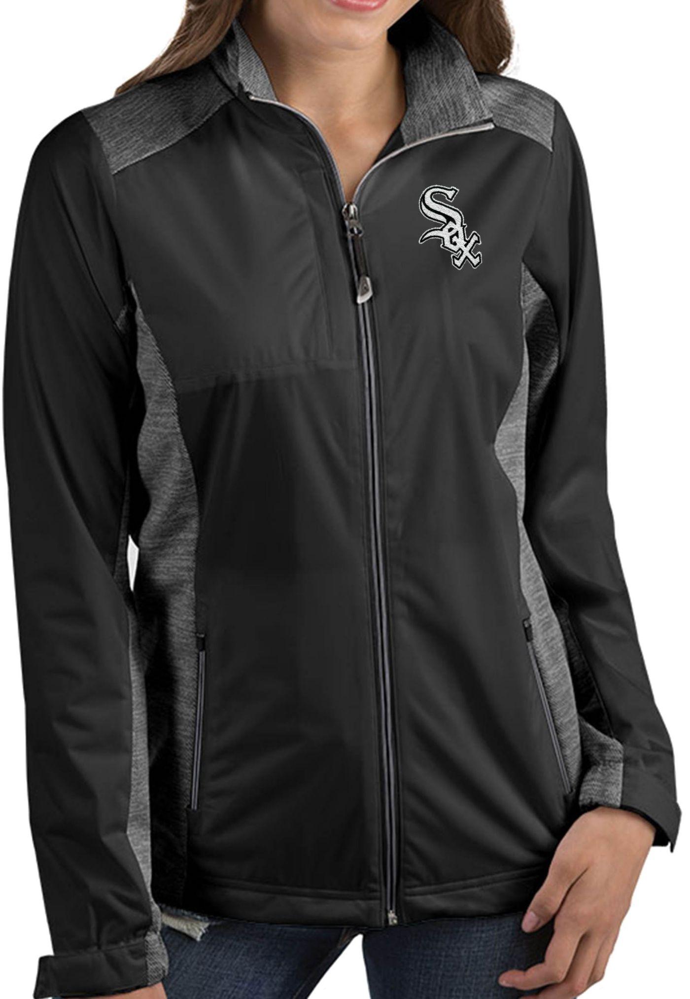 Antigua Women's Chicago White Sox Revolve Black Full-Zip Jacket