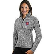 Antigua Women's Detroit Pistons Fortune Grey Half-Zip Pullover