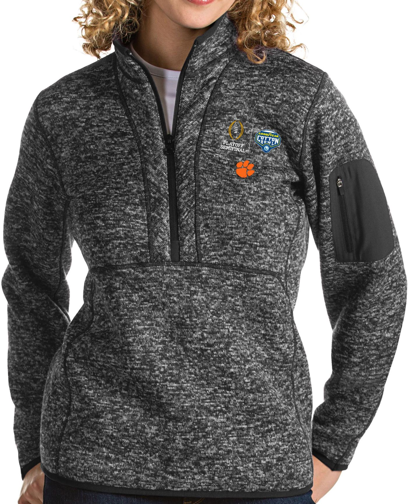 Antigua Women's 2018 Goodyear Cotton Bowl Bound Clemson Tigers Grey Fortune Pullover Jacket