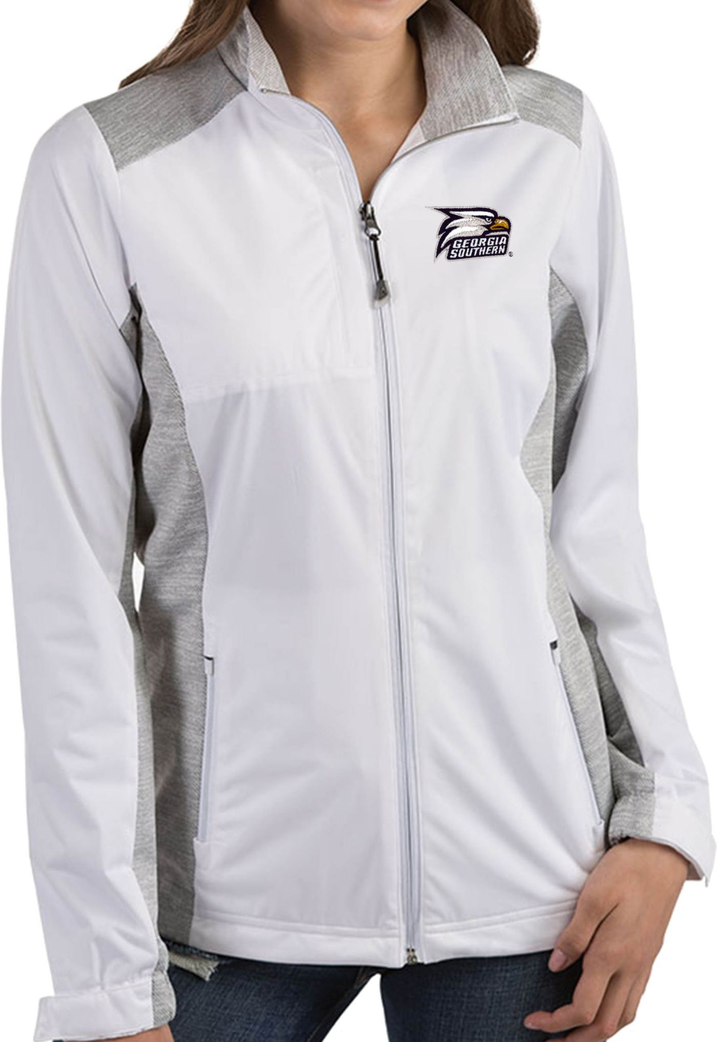 Antigua Women's Georgia Southern Eagles White  Revolve Full-Zip Jacket