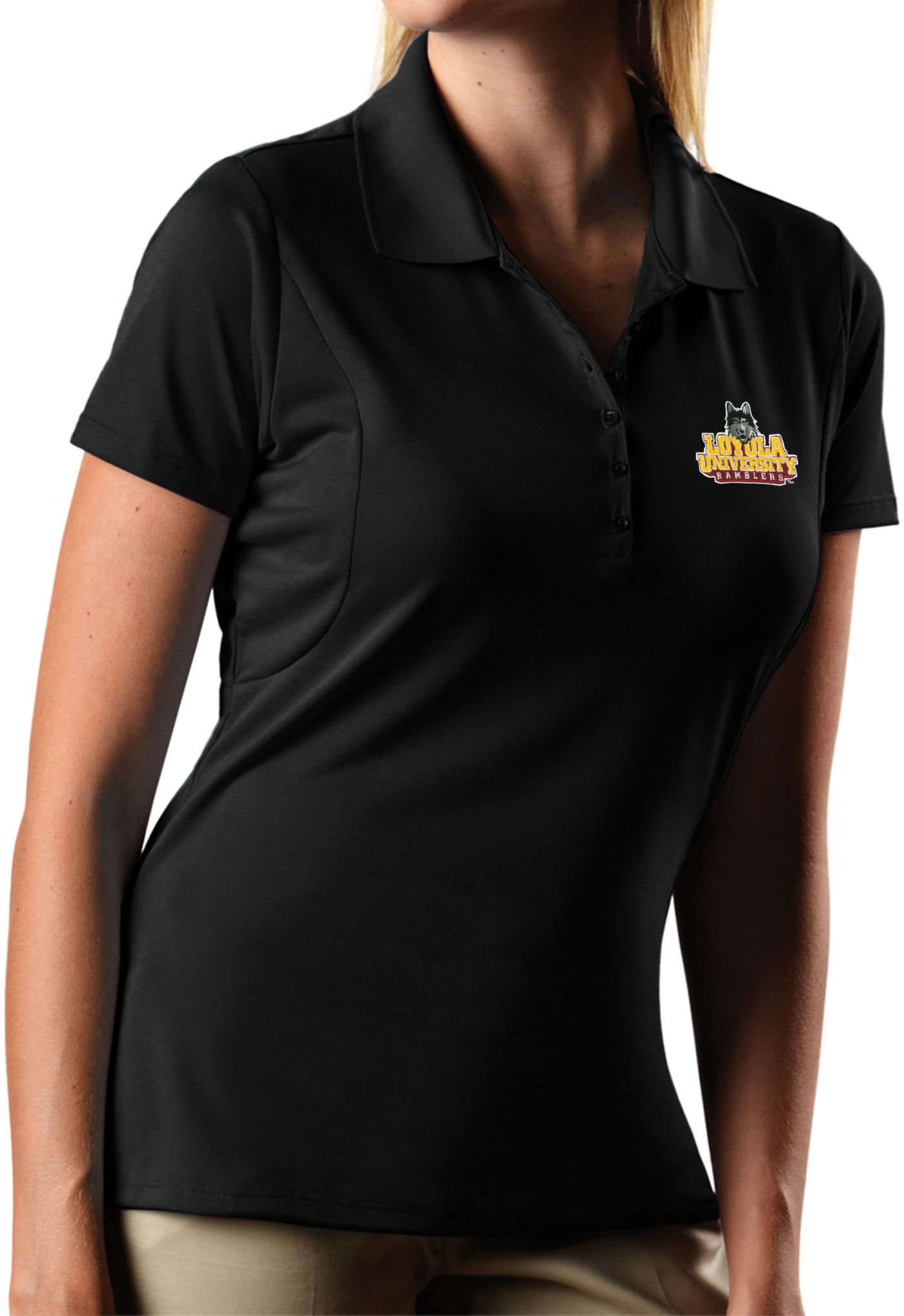 Antigua Women's Loyola Chicago Ramblers Pique X-tra Lite Black Polo