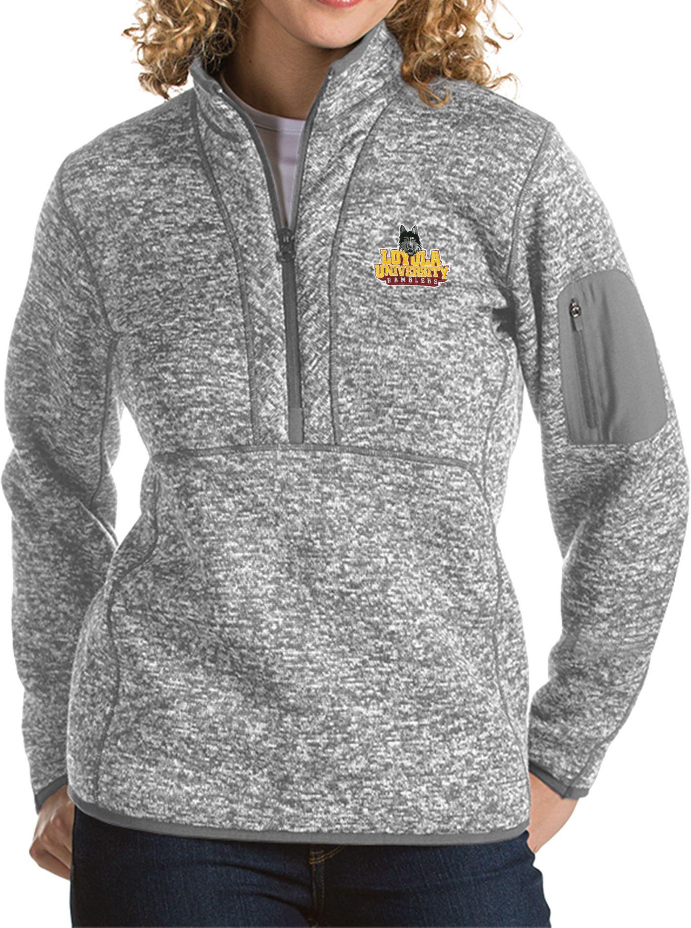 Antigua Women's Loyola Chicago Ramblers Grey Fortune Pullover Jacket