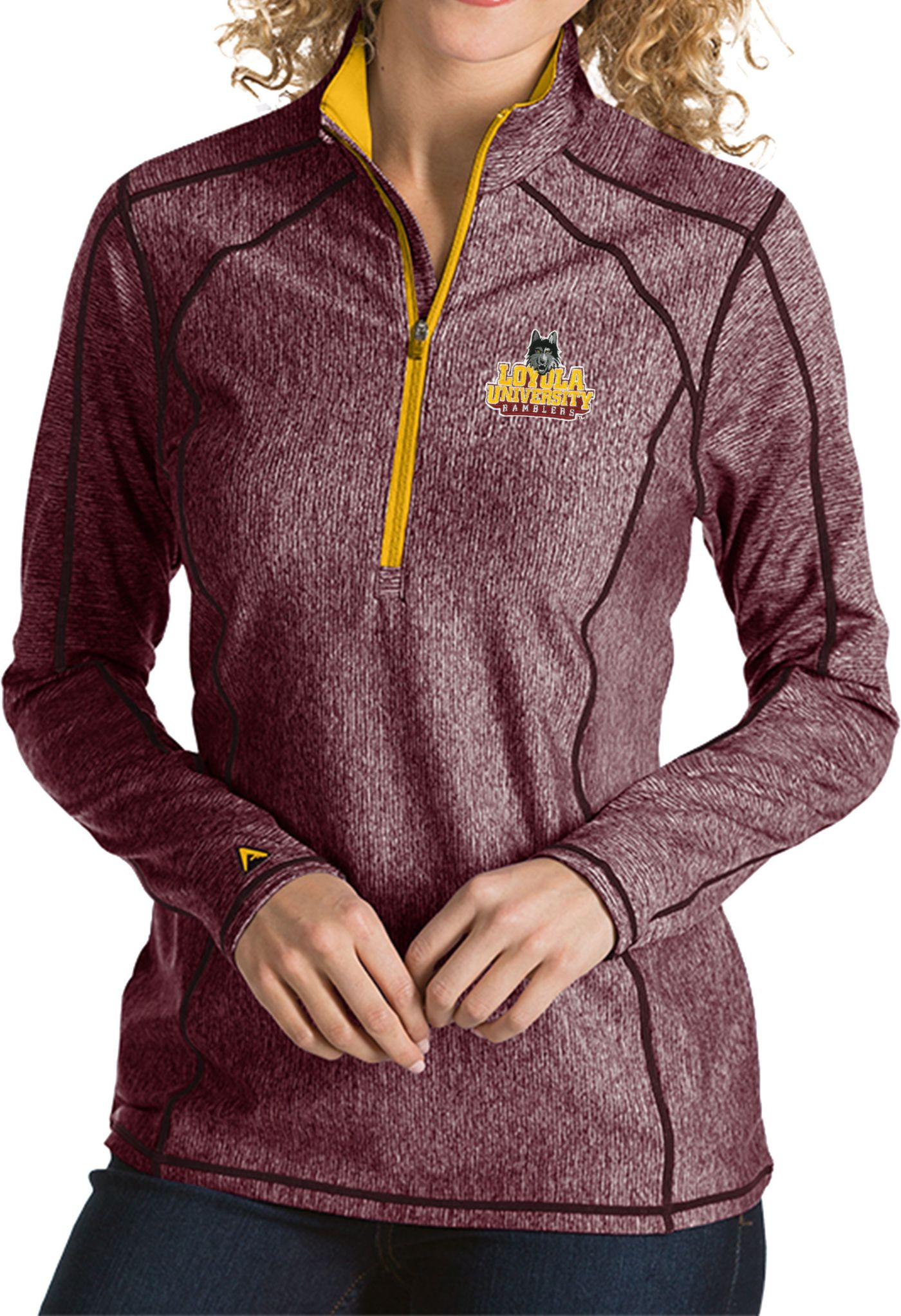 Antigua Women's Loyola Chicago Ramblers Maroon/Gold Tempo Half-Zip Pullover