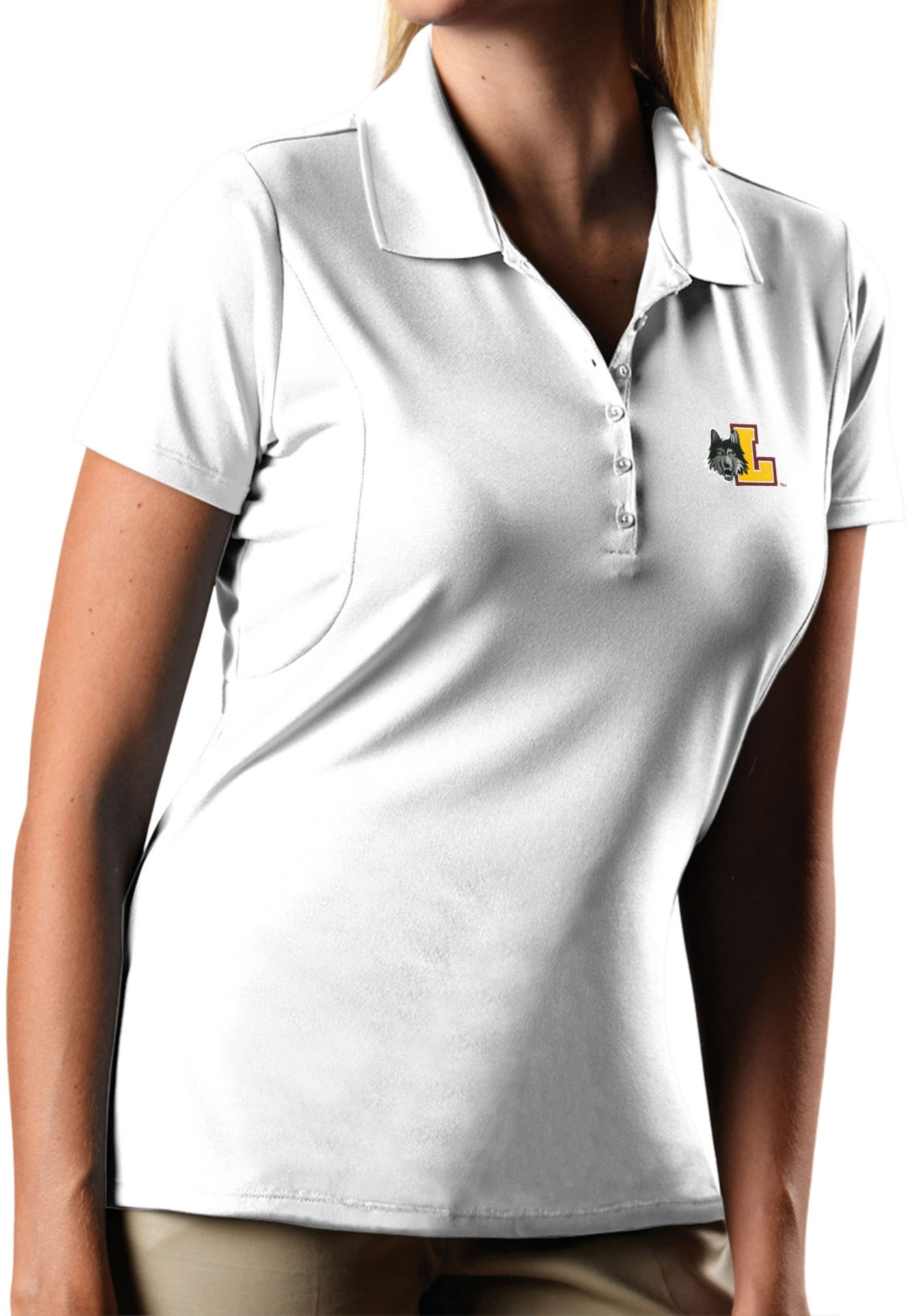 Antigua Women's Loyola Chicago Ramblers Pique X-tra Lite White Polo