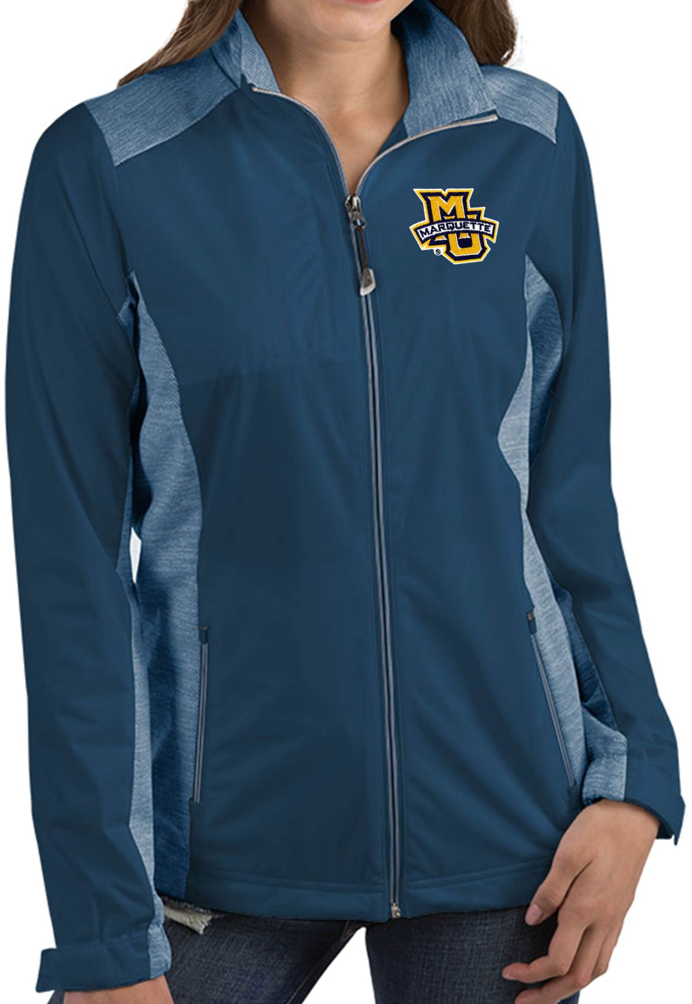 Antigua Women's Marquette Golden Eagles Blue Revolve Full-Zip Jacket