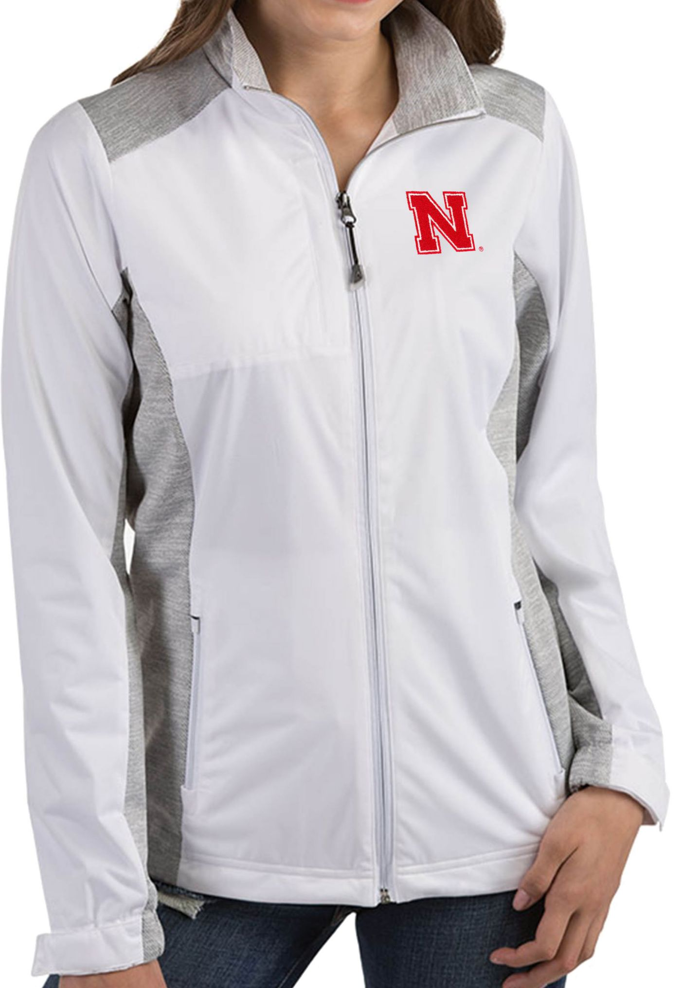 Antigua Women's Nebraska Cornhuskers Revolve Full-Zip White Jacket