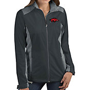 Antigua Women's Arkansas Razorbacks Grey Revolve Full-Zip Jacket