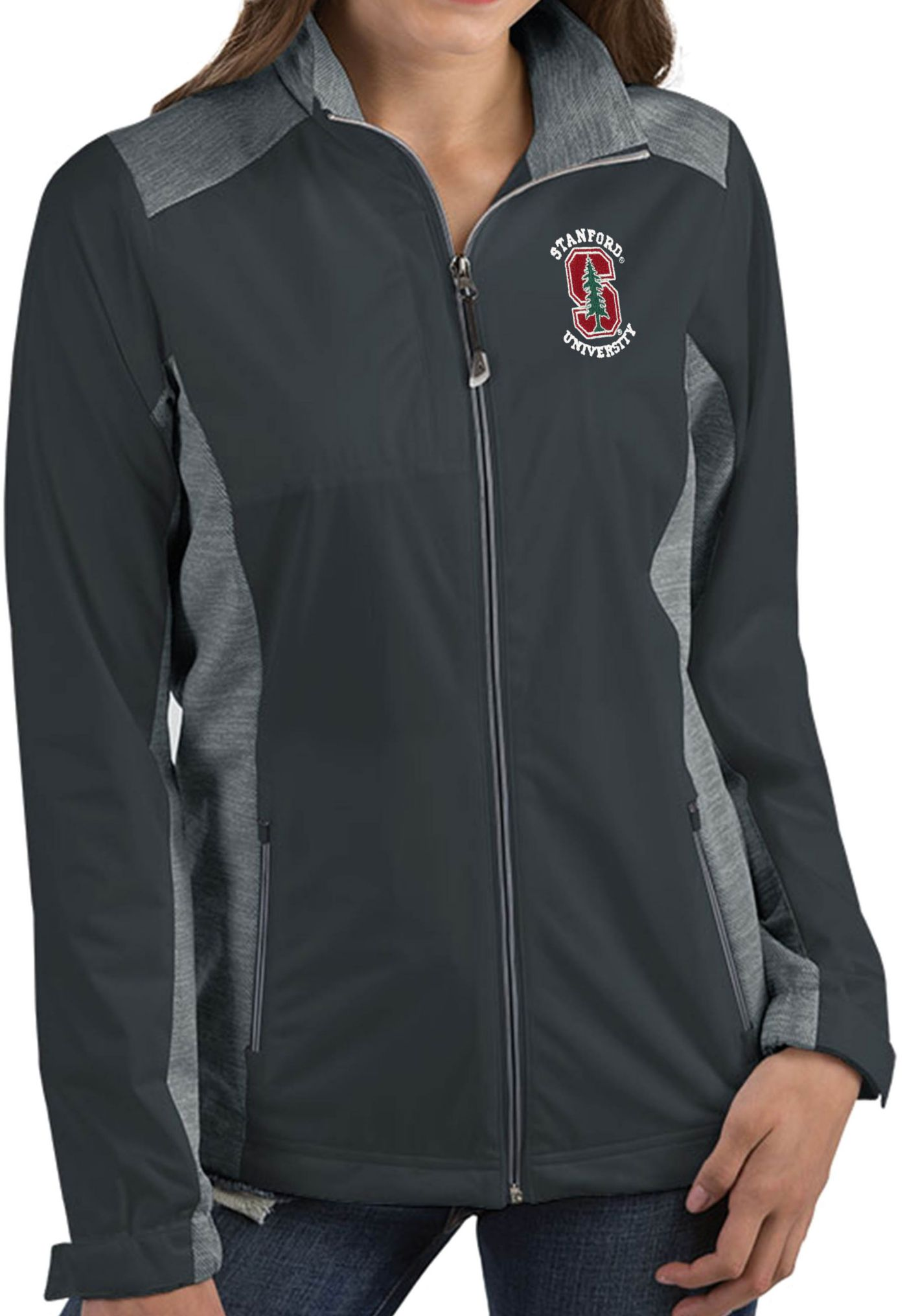 Antigua Women's Stanford Cardinal Grey Revolve Full-Zip Jacket