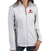 Antigua Women's Wisconsin Badgers Revolve Full-Zip White Jacket