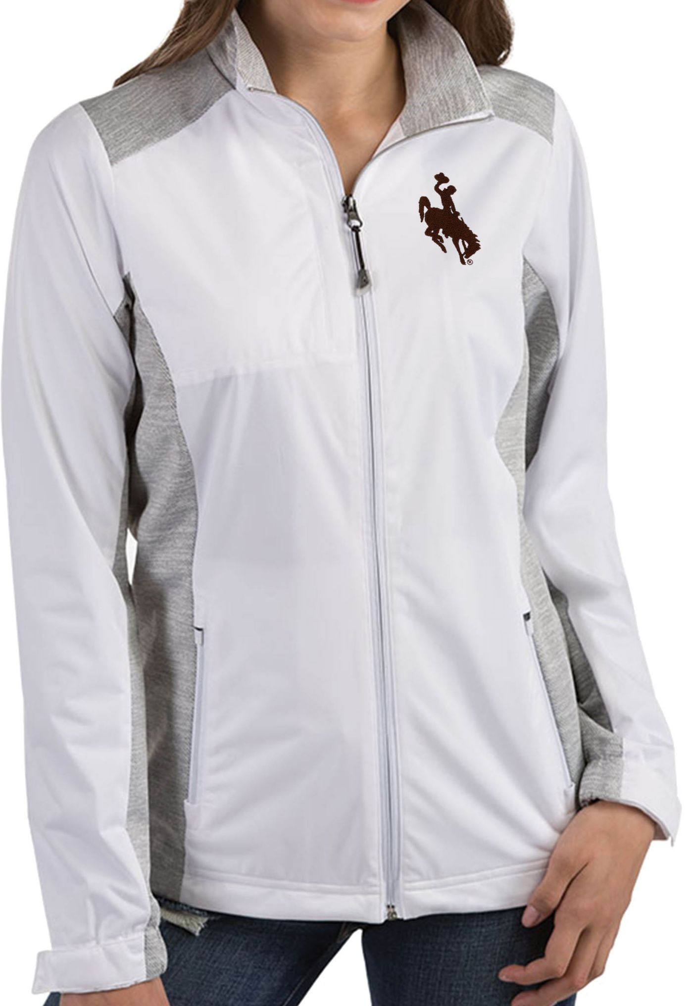 Antigua Women's Wyoming Cowboys Revolve Full-Zip White Jacket