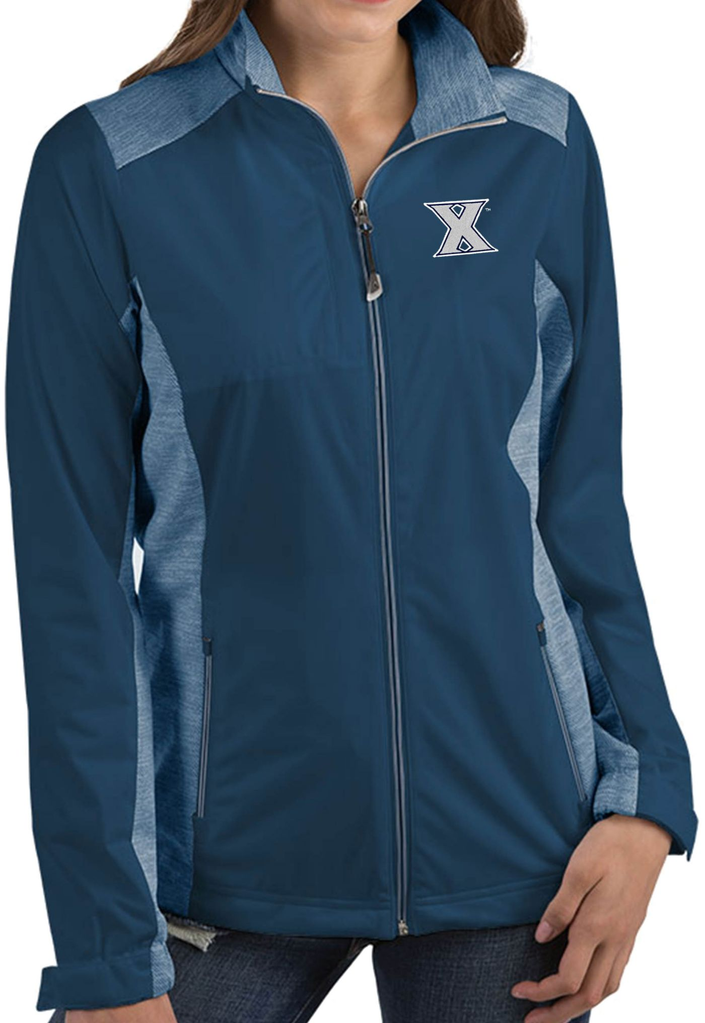 Antigua Women's Xavier Musketeers Blue Revolve Full-Zip Jacket