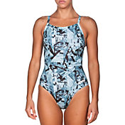 arena Women's Glitch Light Drop Back One Piece Swimsuit