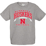 Blue 84 Youth Nebraska Cornhuskers Grey Football T-Shirt