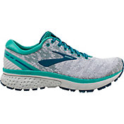 Brooks Women's Ghost 11 Running Shoes in White/Grey/Teal