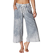 Betsey Johnson Women's Bleach Wash Flare Crop Sweatpants